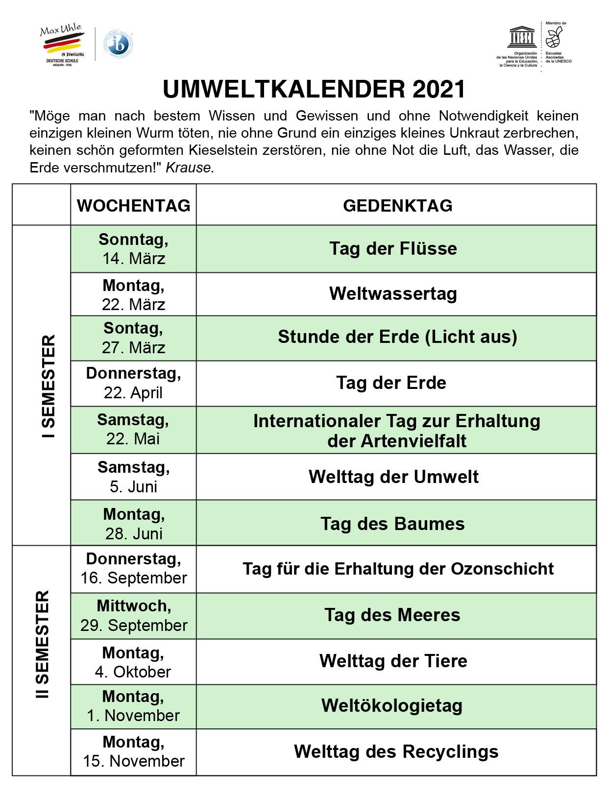 calendario ambiental en aleman