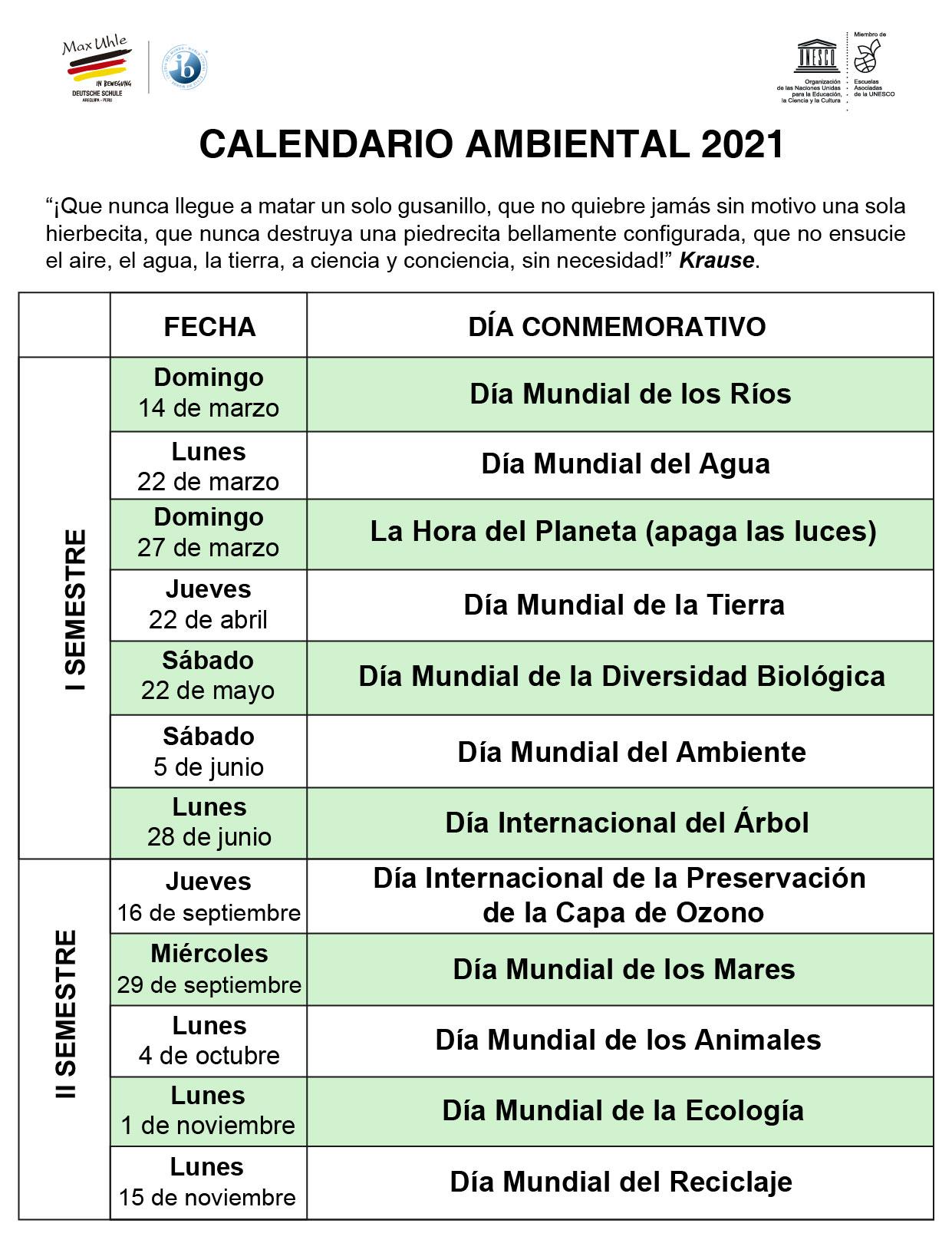 calendario ambiental en español