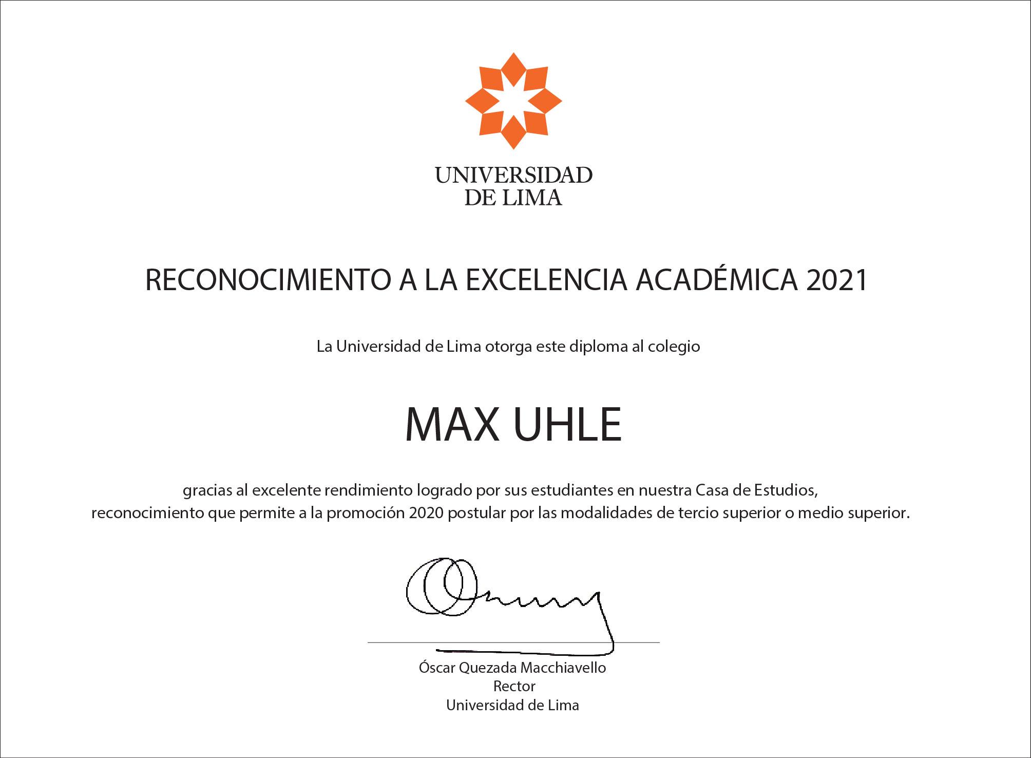 Reconocimiento a la Excelencia Académica Universidad de Lima