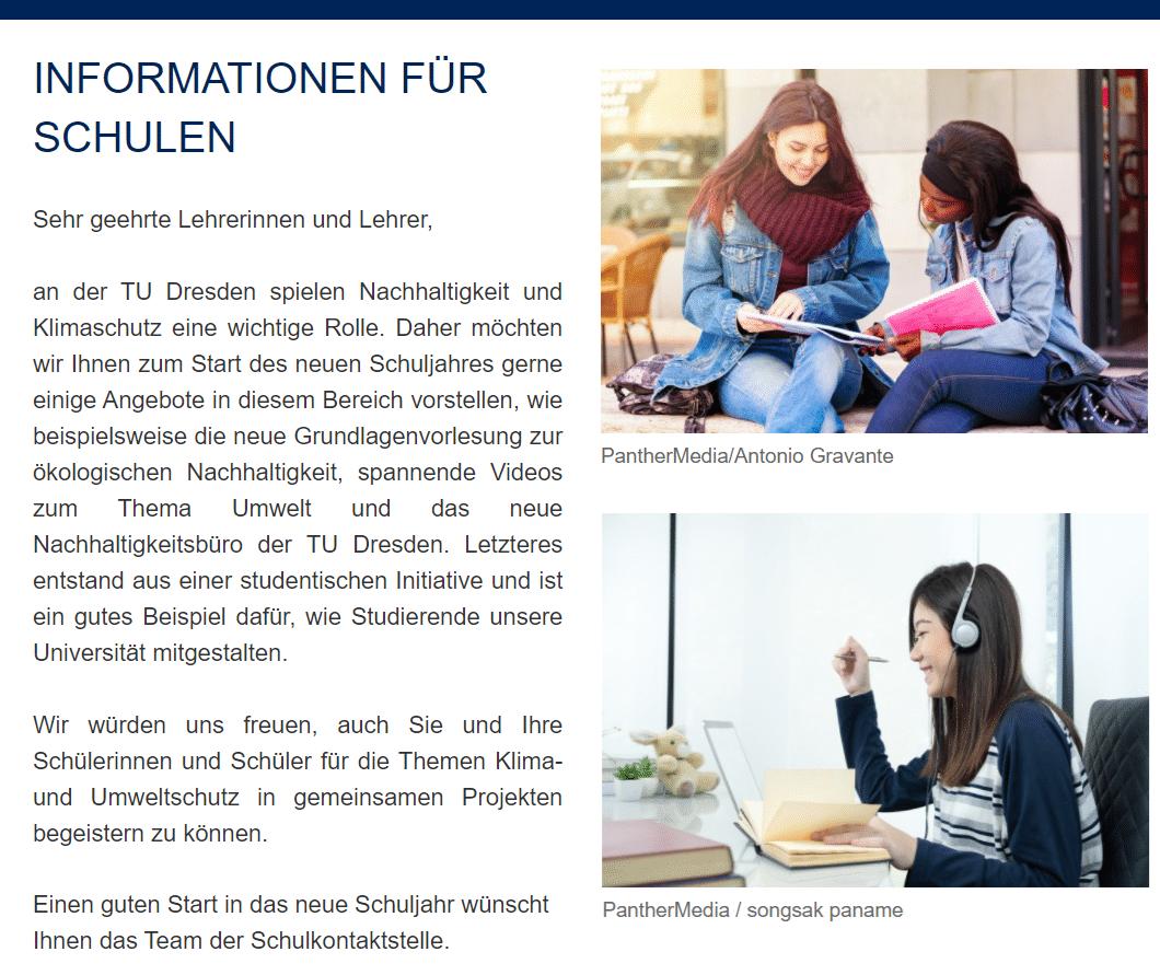 TU Dresden Angebot Information